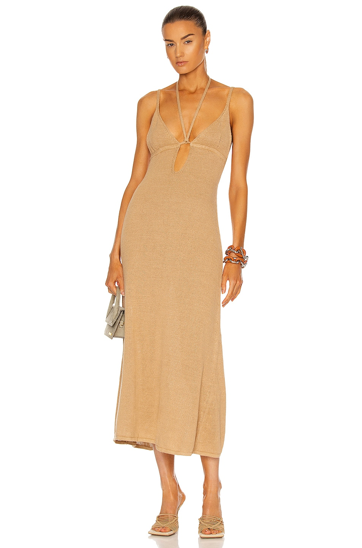 Image 1 of Cult Gaia Kingsley Knit Dress in Light Camel