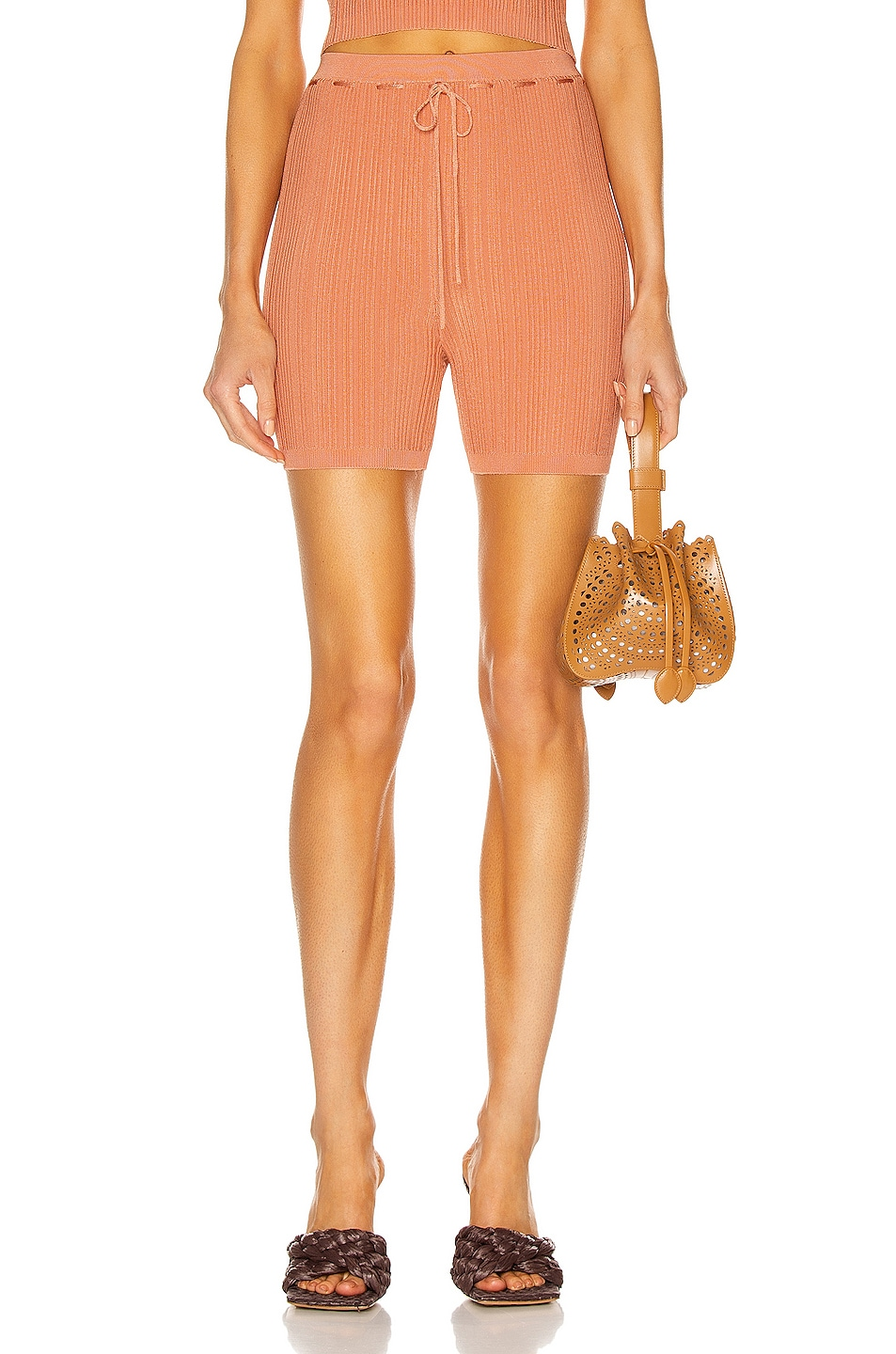Image 1 of Cult Gaia Vera Knit Short in Cantaloupe