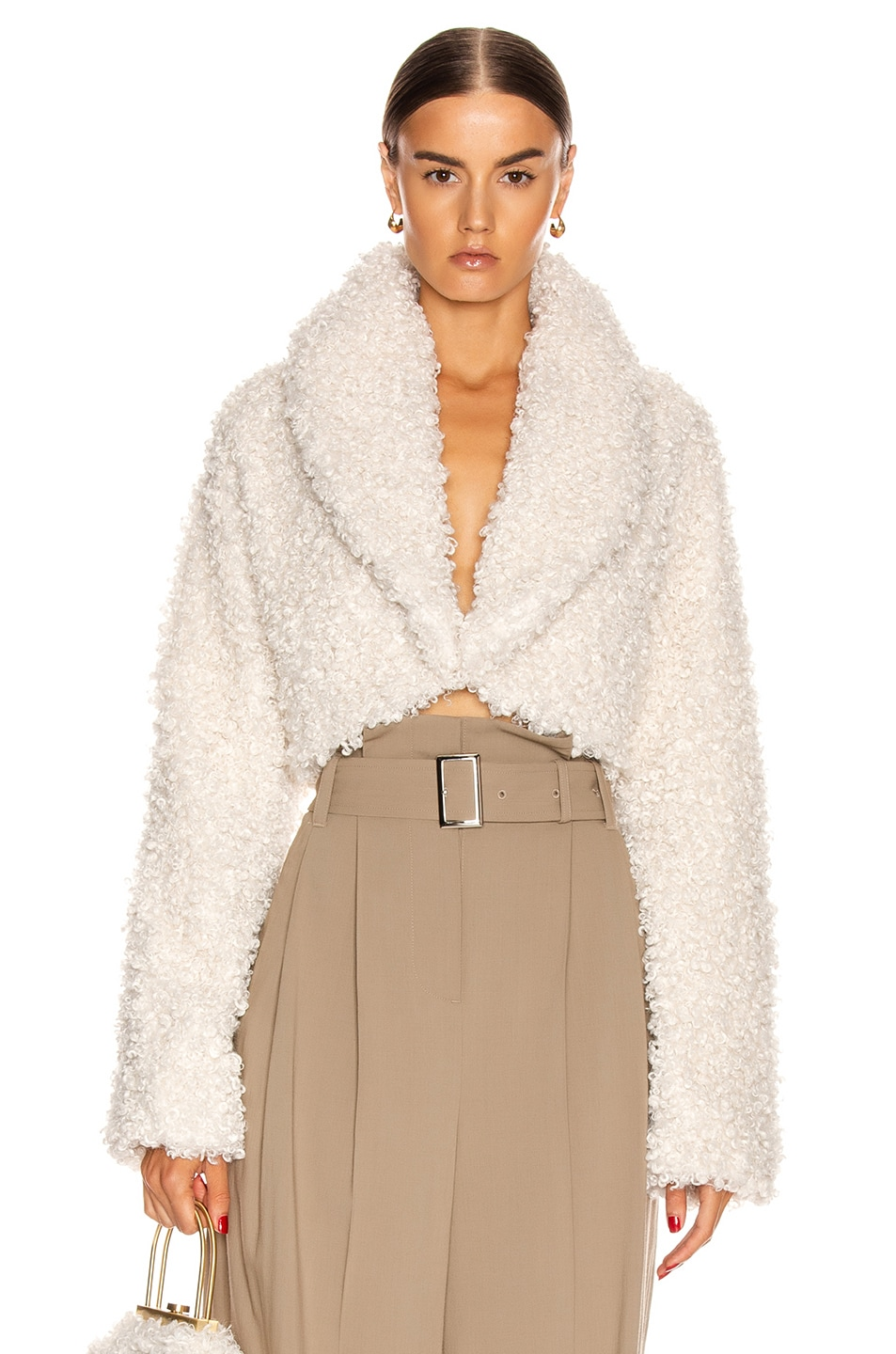 Image 1 of Cult Gaia Evie Faux Fur Jacket in Off White
