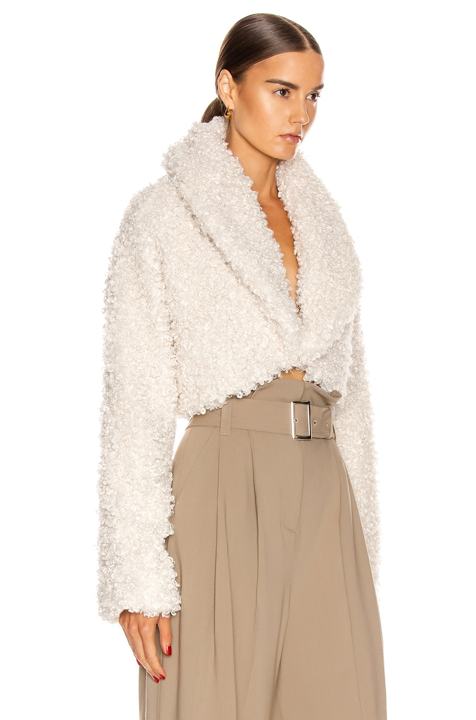 Image 2 of Cult Gaia Evie Faux Fur Jacket in Off White