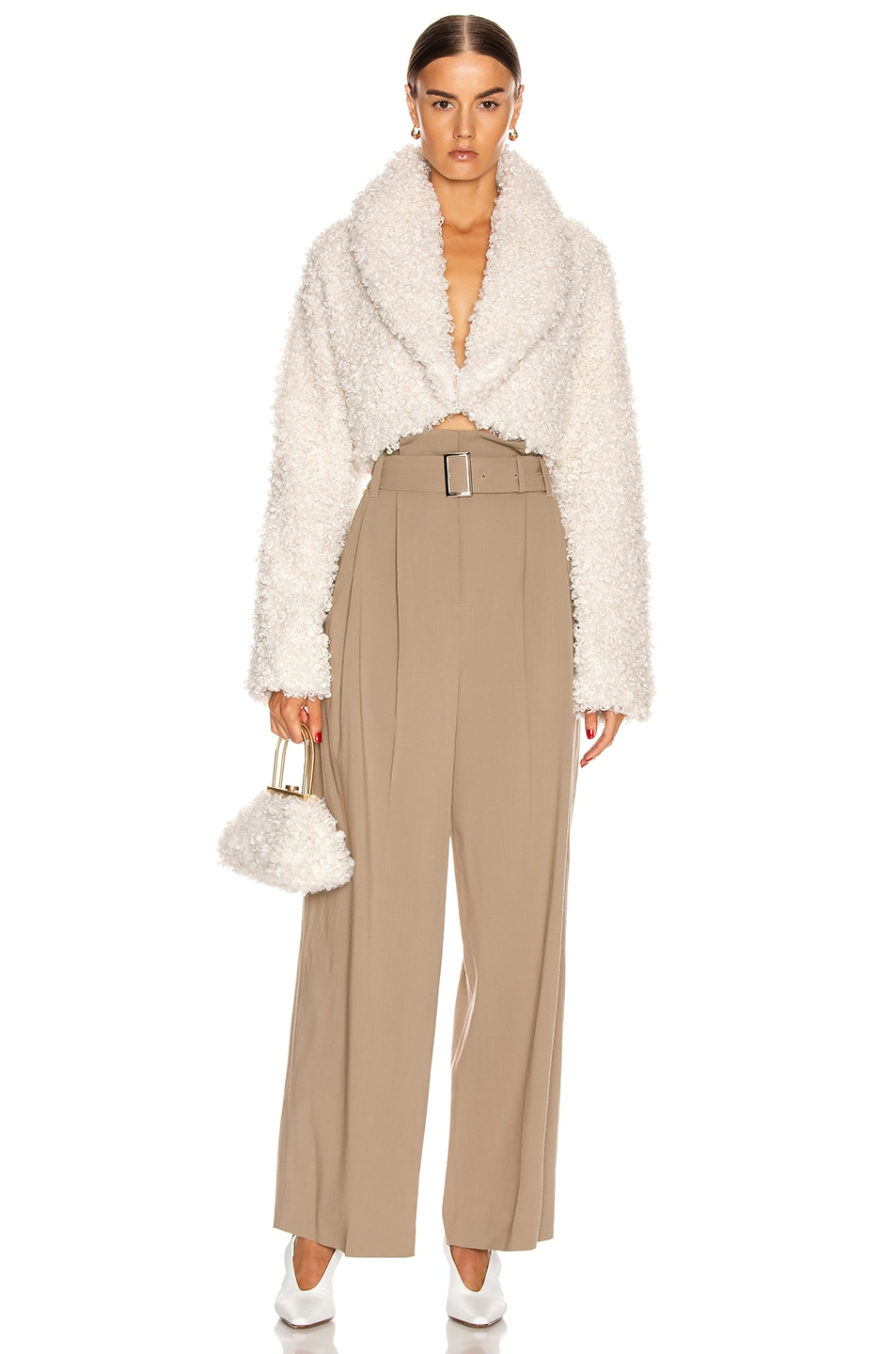 Image 4 of Cult Gaia Evie Faux Fur Jacket in Off White