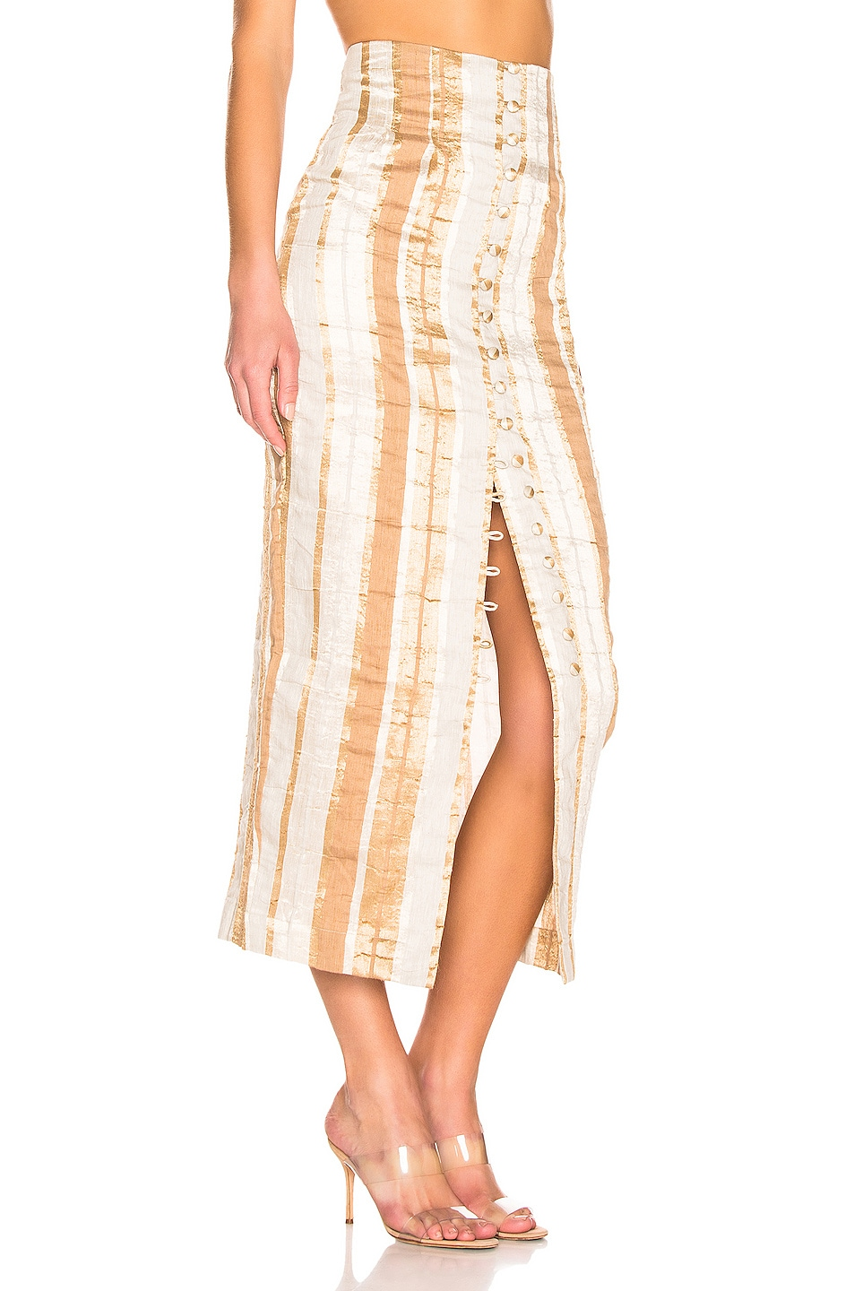 Image 2 of Cult Gaia Hera Skirt in Natural Stripe