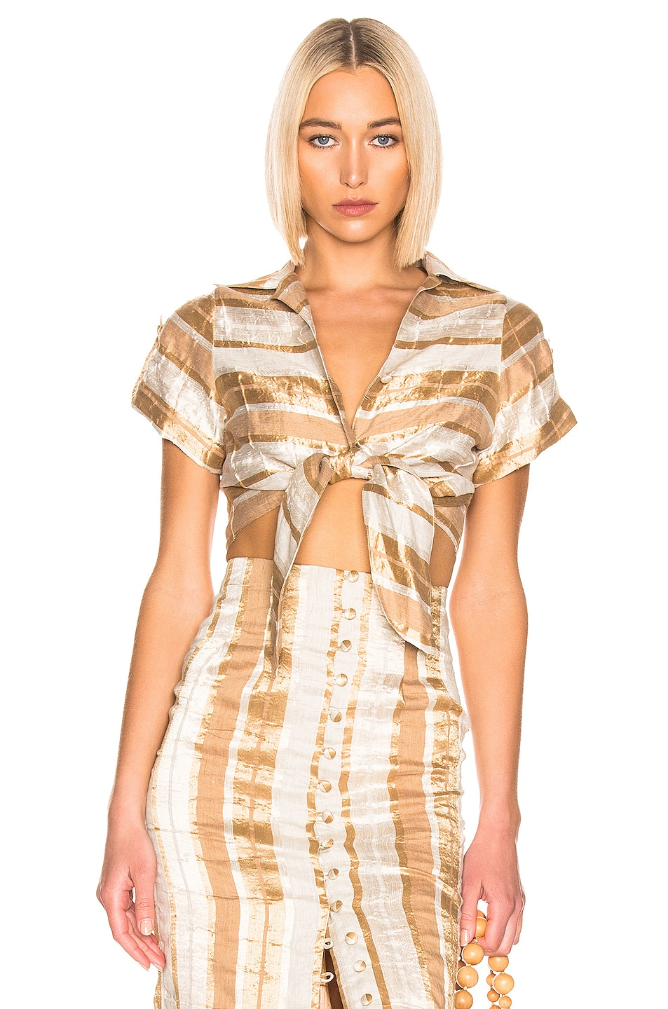 Image 1 of Cult Gaia Madeline Top in Natural Stripe