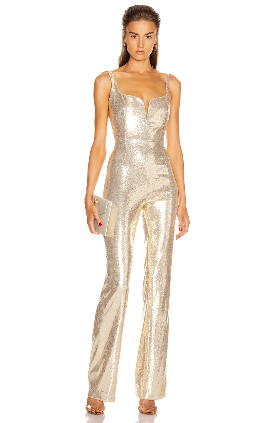 Image 1 of GALVAN Galaxy Corset Jumpsuit in Pale Gold