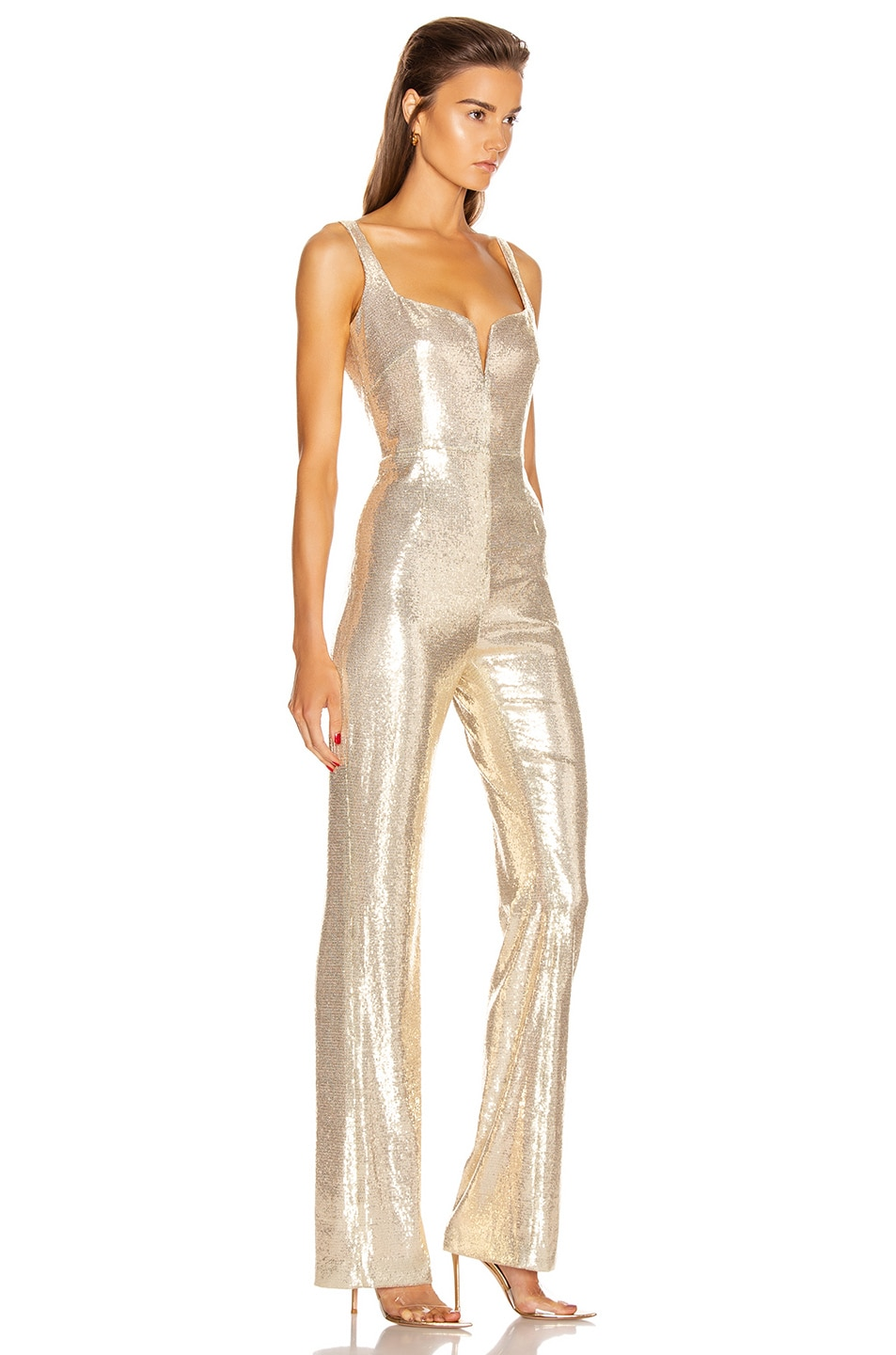 Image 2 of GALVAN Galaxy Corset Jumpsuit in Pale Gold