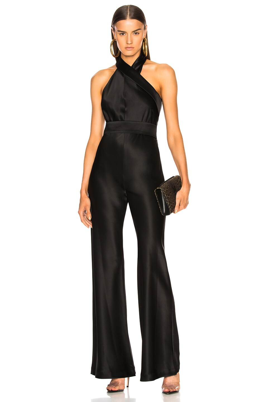 Image 1 of GALVAN Asymmetric Sash Jumpsuit in Black