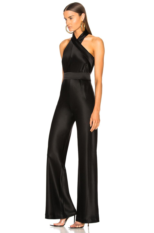 Image 3 of GALVAN Asymmetric Sash Jumpsuit in Black