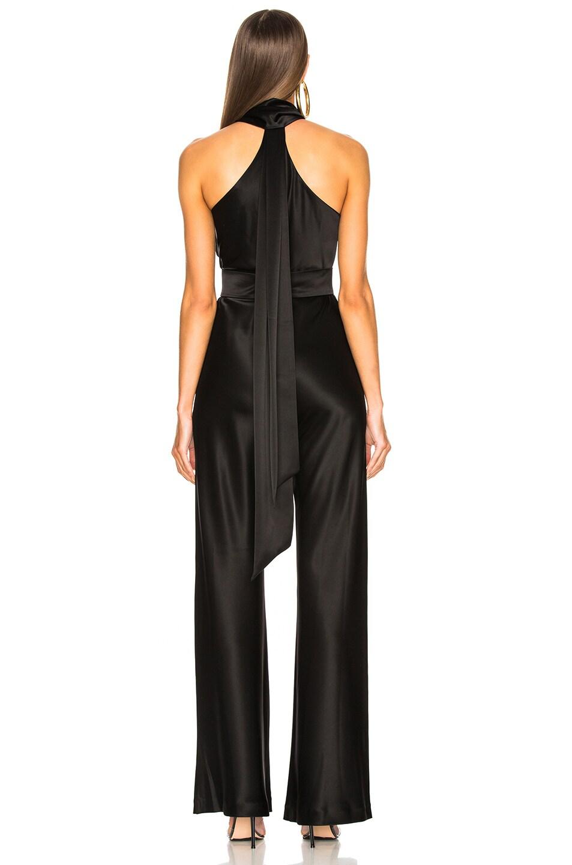 Image 4 of GALVAN Asymmetric Sash Jumpsuit in Black