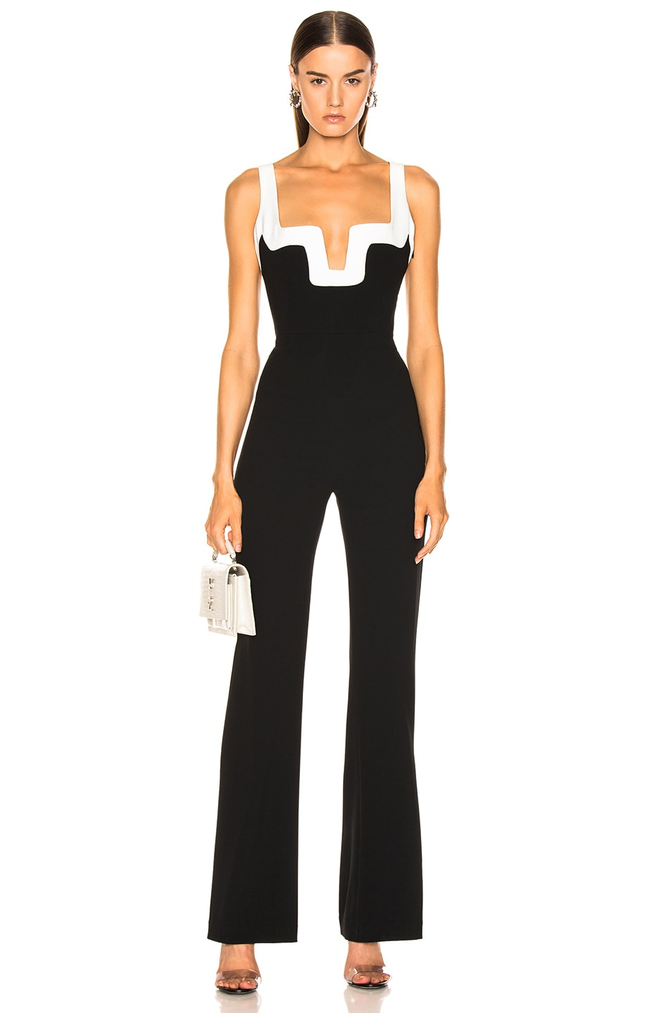 Image 1 of GALVAN Arabesque Jumpsuit in Black & White