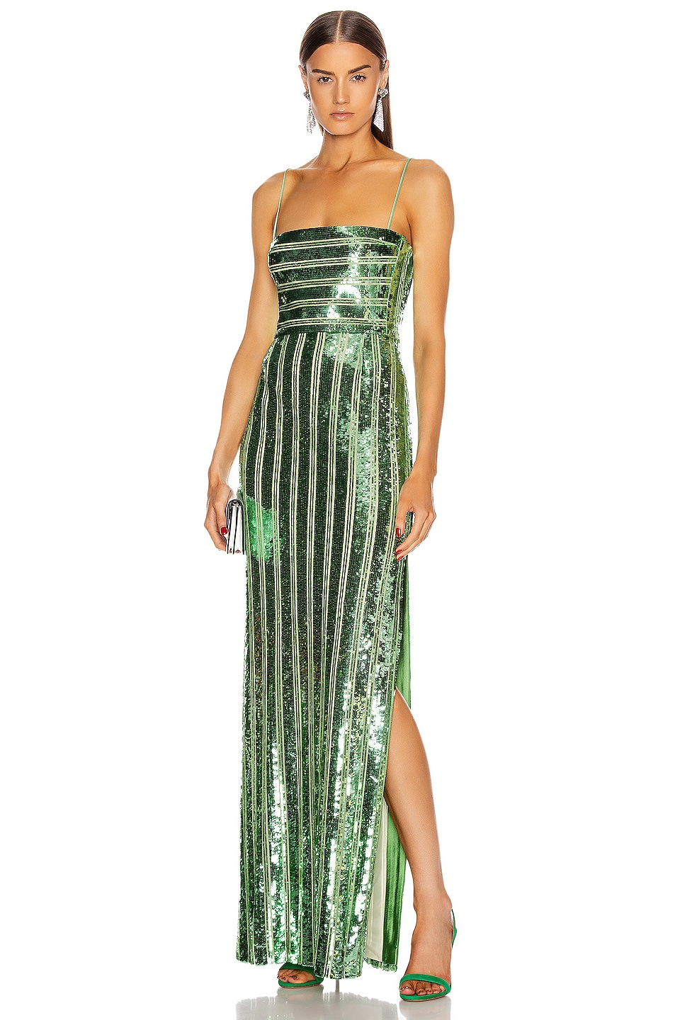 Image 1 of GALVAN Stargaze Bandeau Dress in Jade