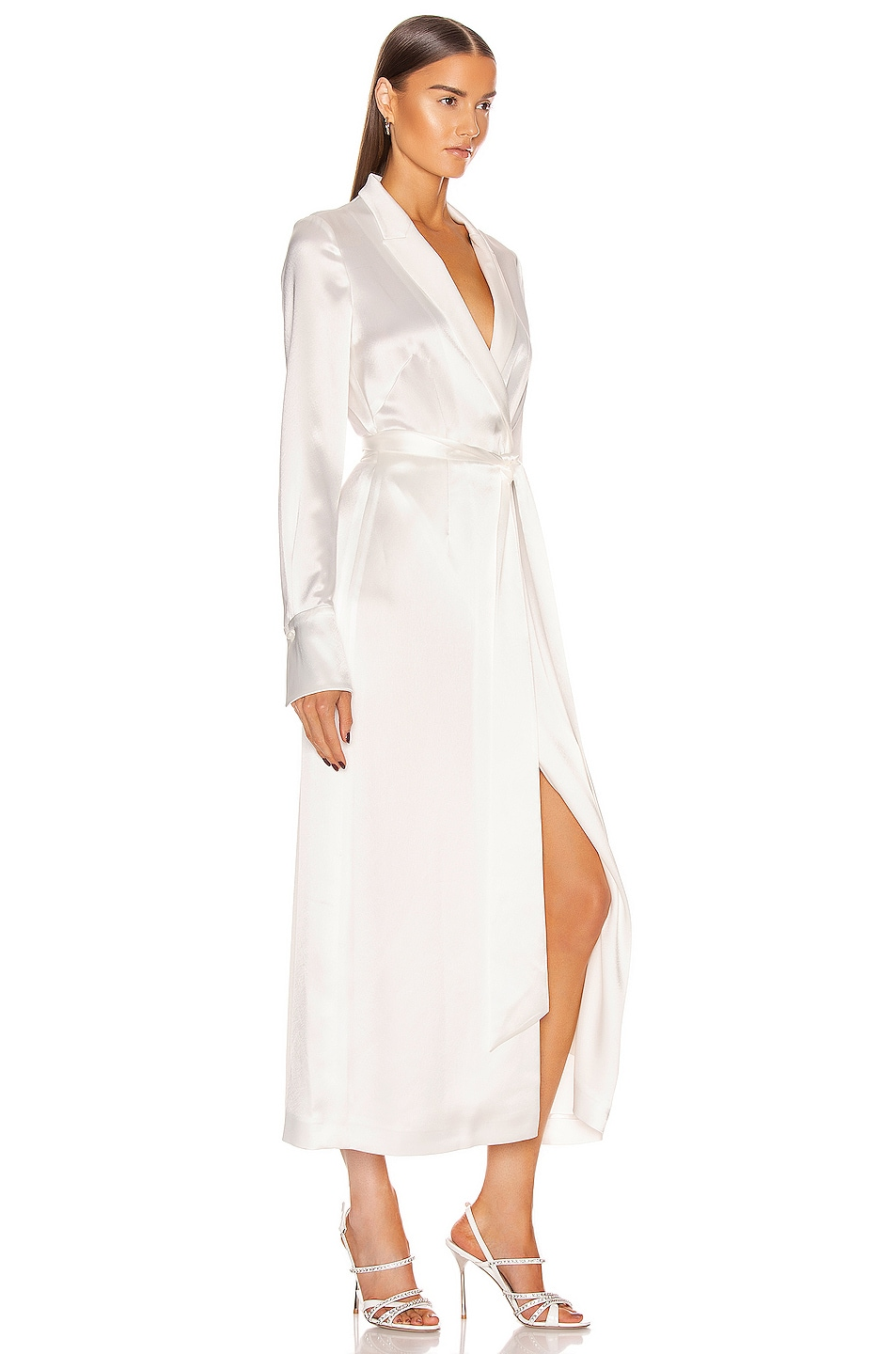 Image 2 of GALVAN Callisto Wrap Coat Dress in White