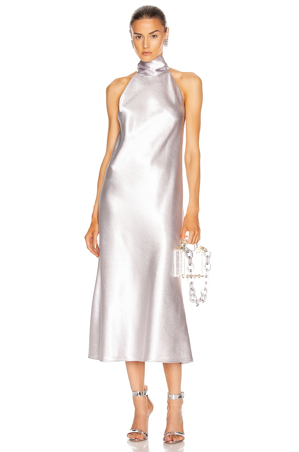 Image 1 of GALVAN Metallic Cropped Sienna Dress in Silver