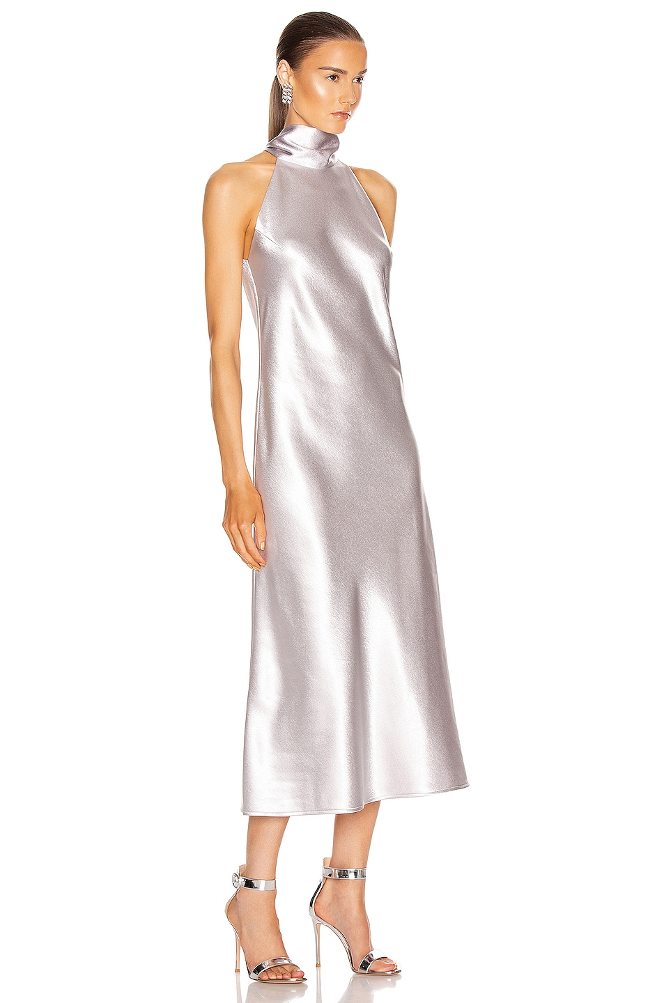 Image 2 of GALVAN Metallic Cropped Sienna Dress in Silver