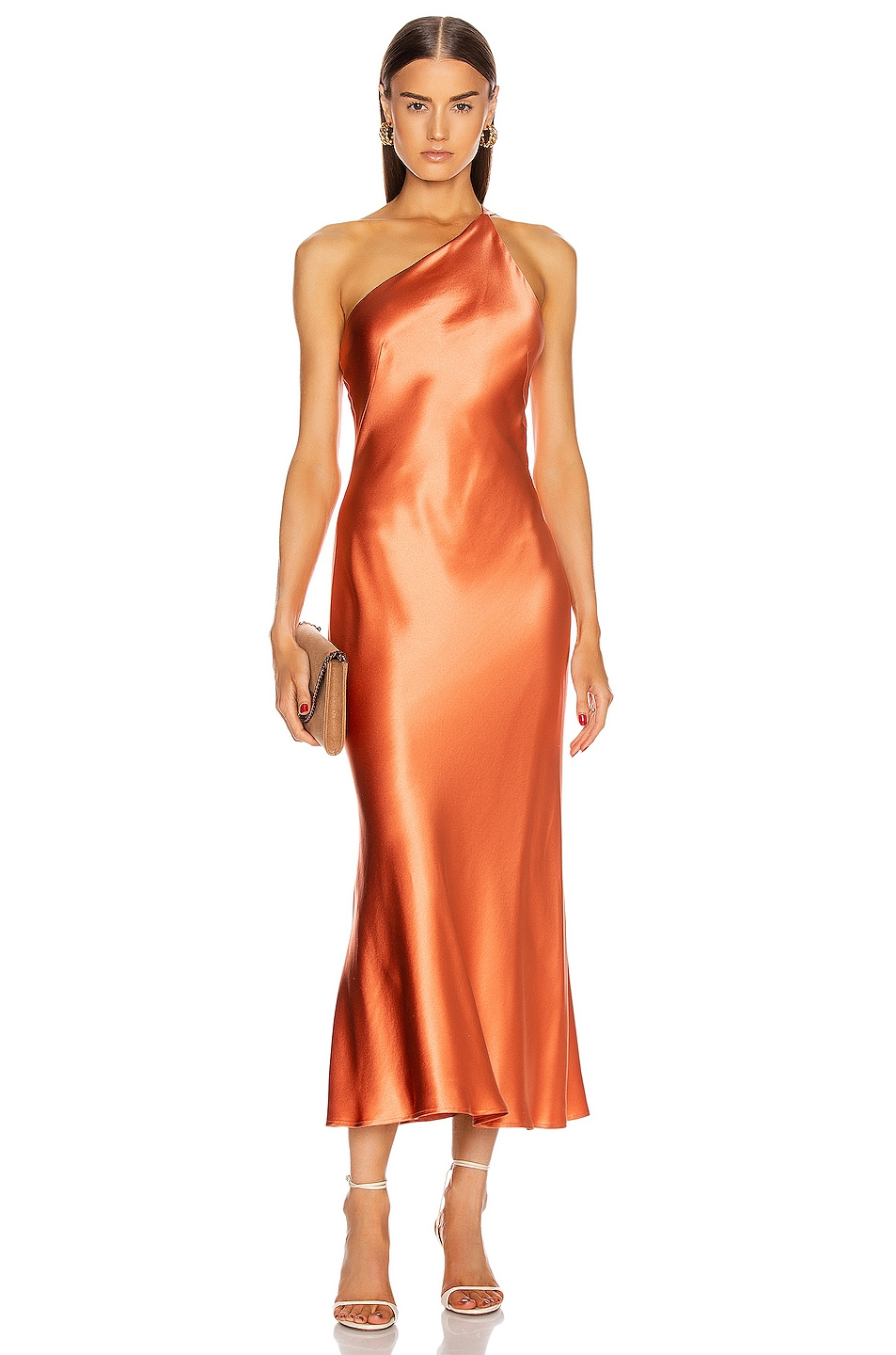Image 1 of GALVAN Silk Cropped Roxy Dress in Apricot