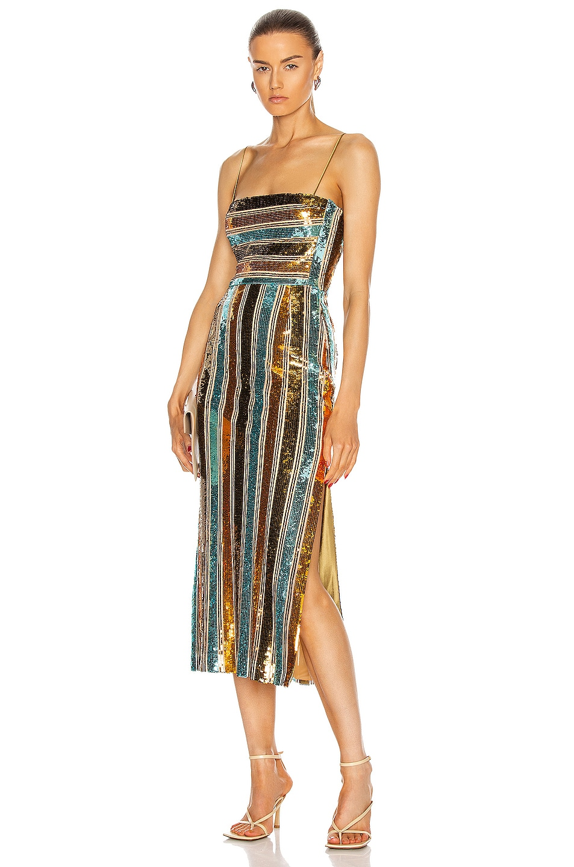 Image 1 of GALVAN Stargaze Cocktail Dress in Turquoise Multi Stripe
