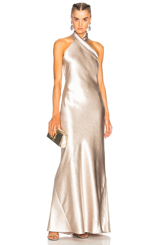 GALVAN Asymmetrical Bias Cut Dress in Platinum | FWRD