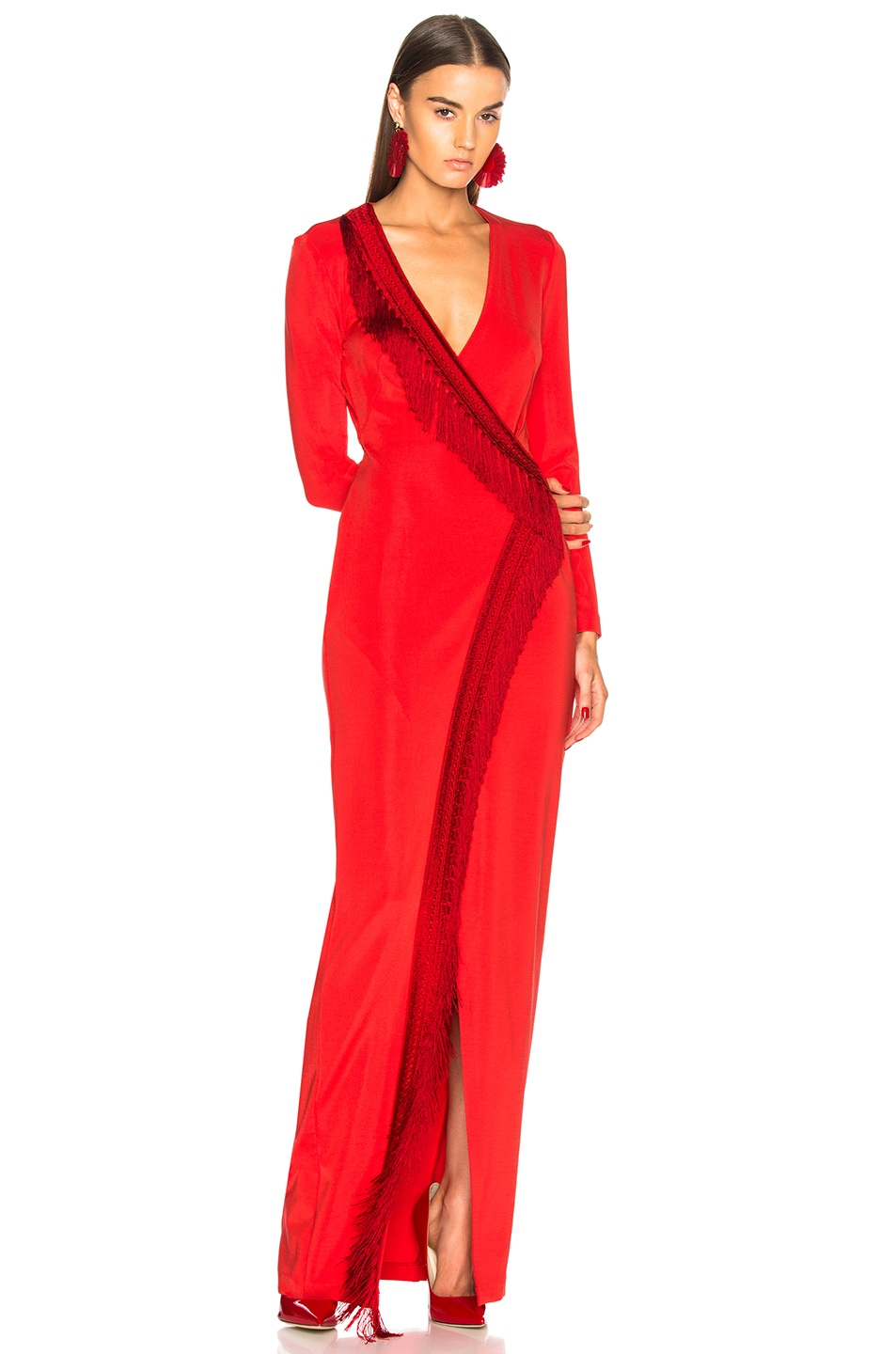 Image 1 of GALVAN Tunqui Fringe Dress in Inca Red