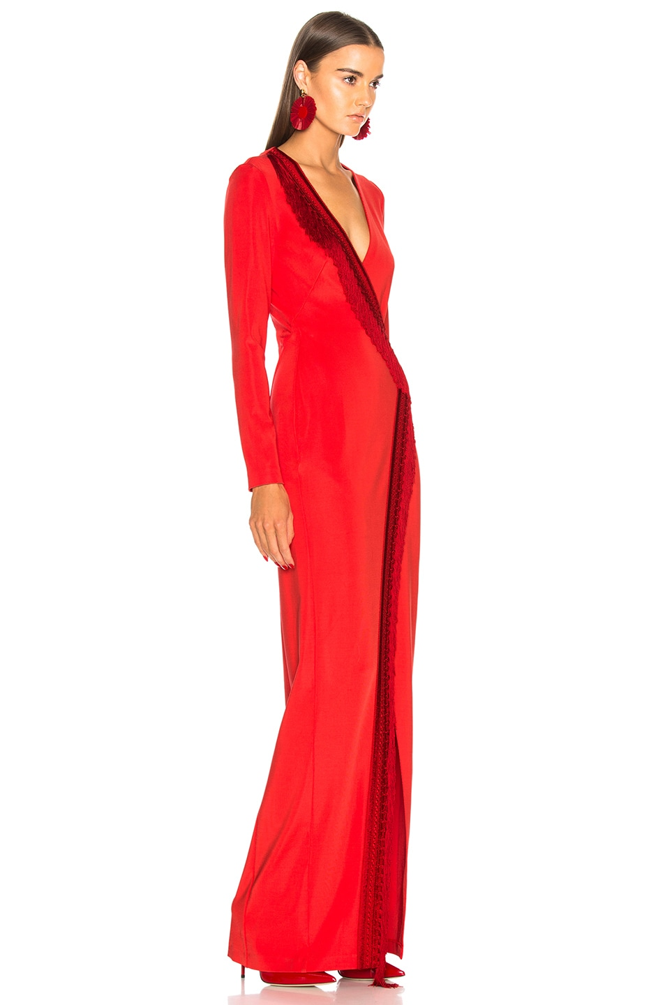 Image 2 of GALVAN Tunqui Fringe Dress in Inca Red