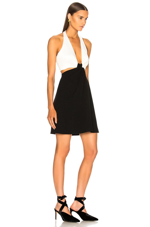 Image 2 of GALVAN Eclipse Mini Dress in White & Black