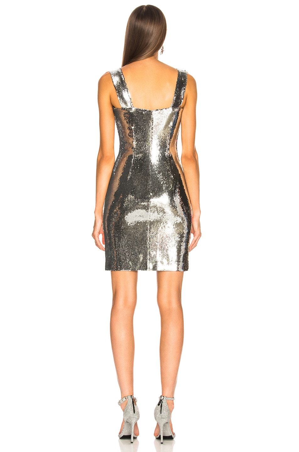 Image 4 of GALVAN Chrome Mini Dress in Silver