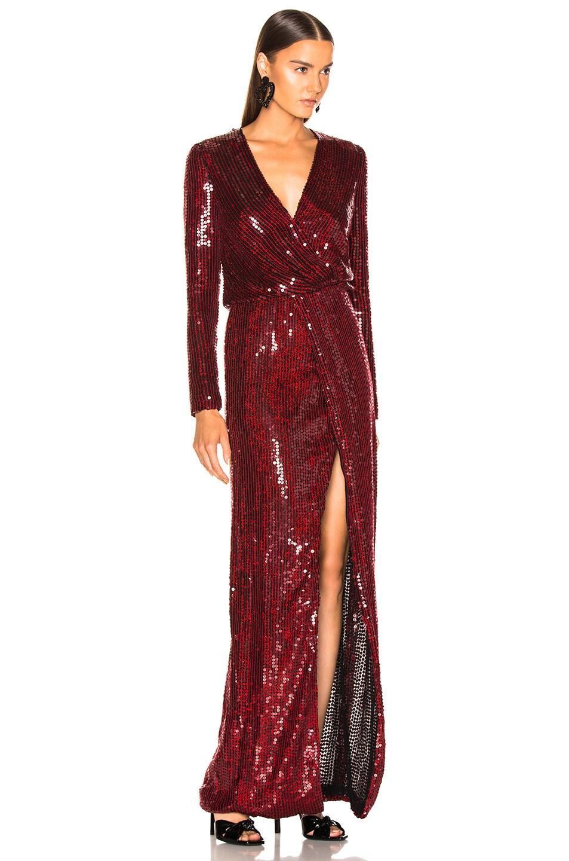 Image 2 of GALVAN Sequined Vera Dress in Red