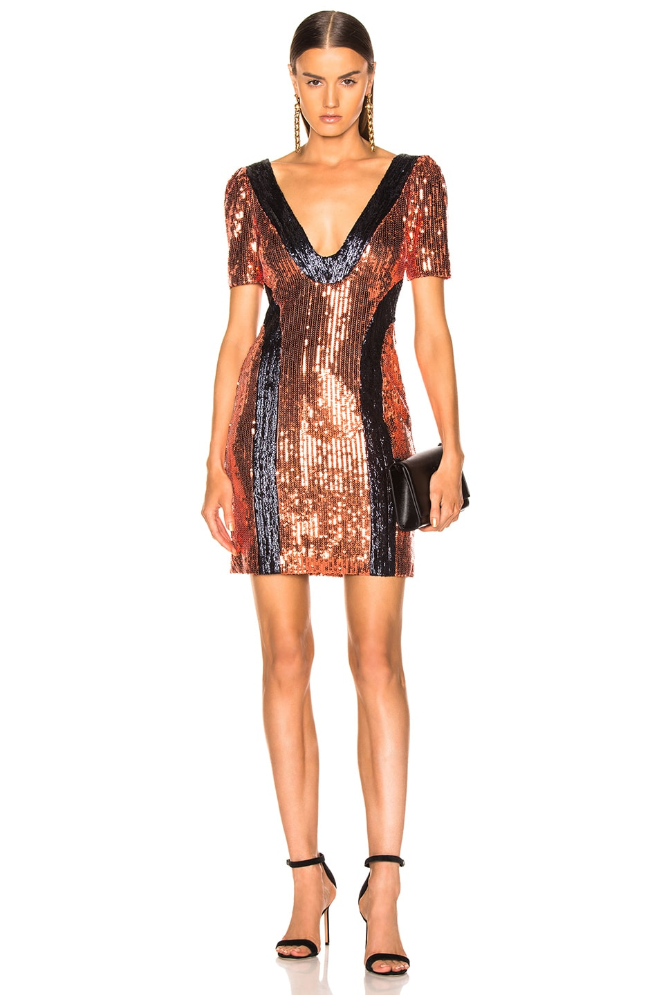 Image 1 of GALVAN Hero Mini Dress in Bronze & Midnight