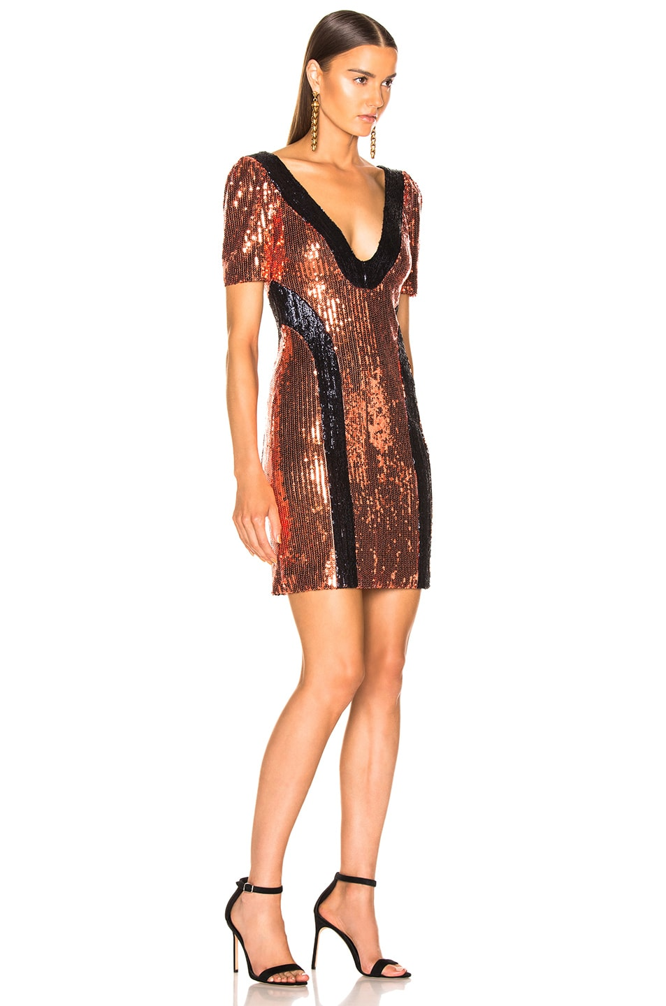 Image 2 of GALVAN Hero Mini Dress in Bronze & Midnight