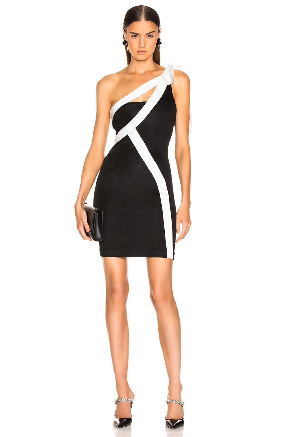 Image 1 of GALVAN Laced Mini Dress in Black & White
