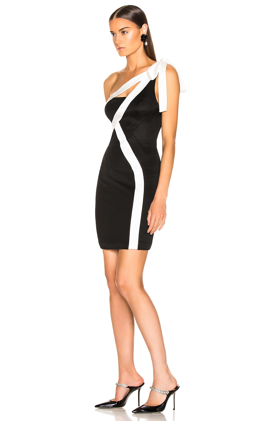 Image 3 of GALVAN Laced Mini Dress in Black & White
