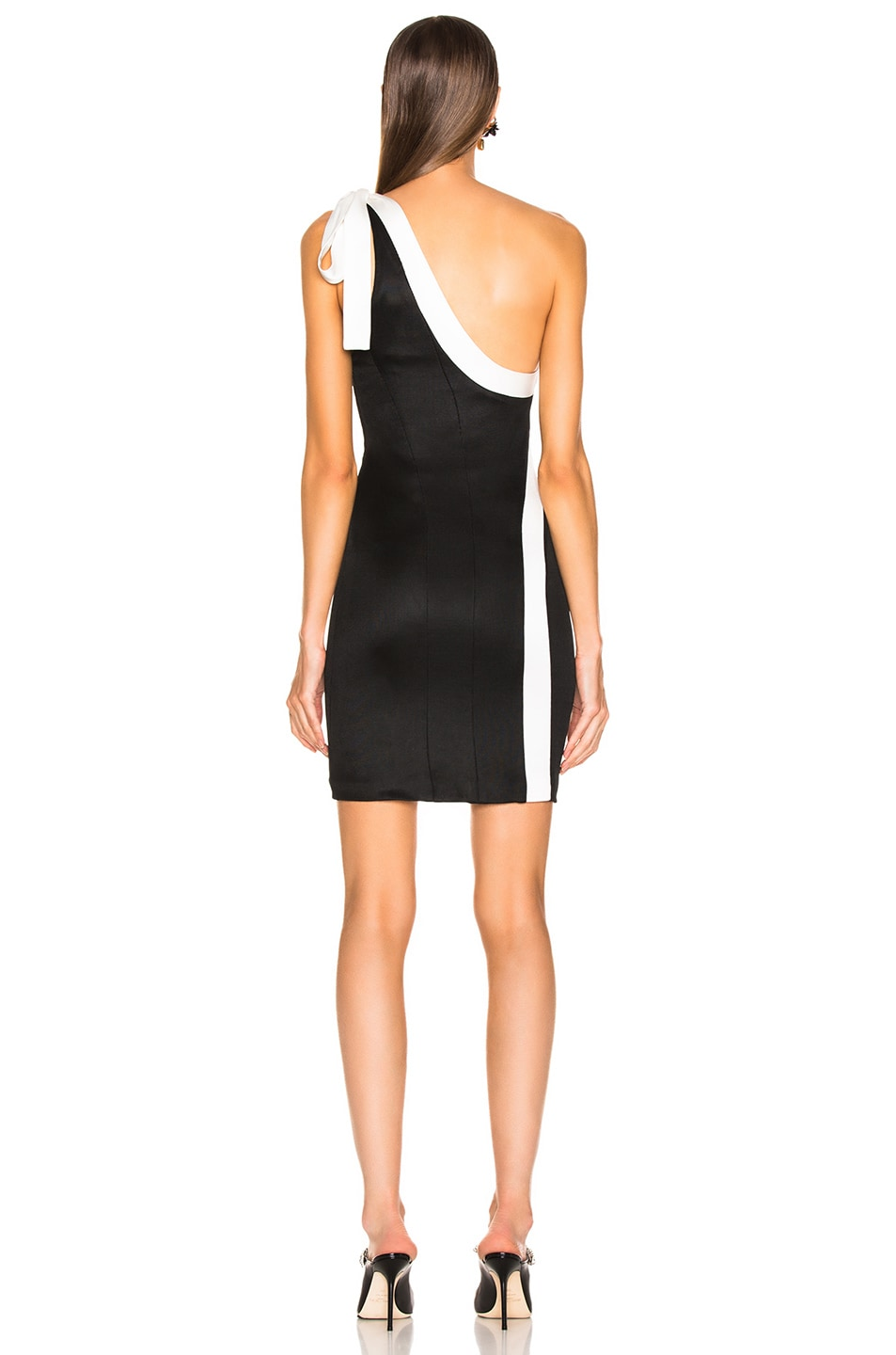 Image 4 of GALVAN Laced Mini Dress in Black & White