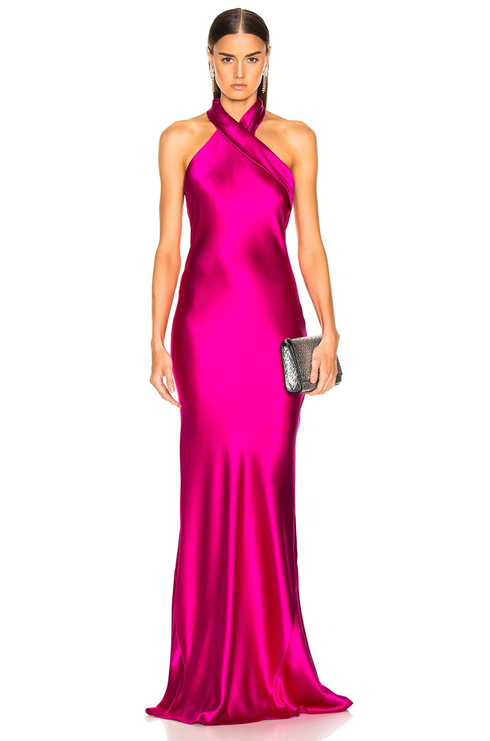 Image 1 of GALVAN Silk Pandora Dress in Fuchsia