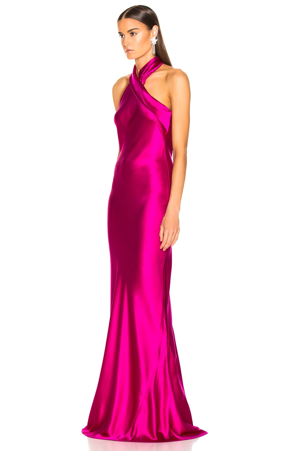 Image 3 of GALVAN Silk Pandora Dress in Fuchsia