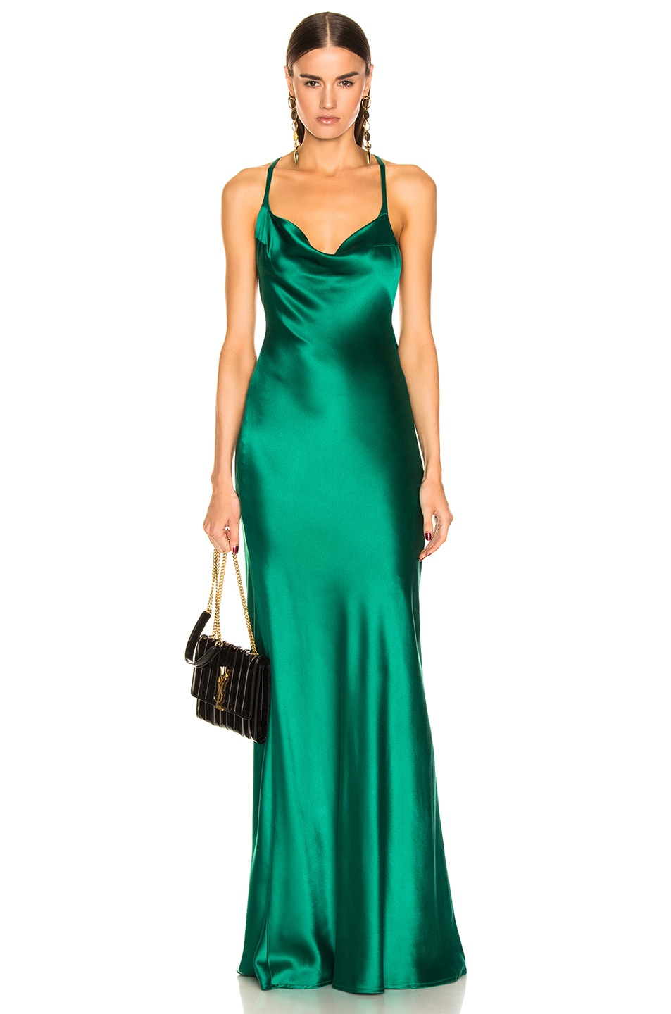 Image 1 of GALVAN Silk Whiteley Dress in Green