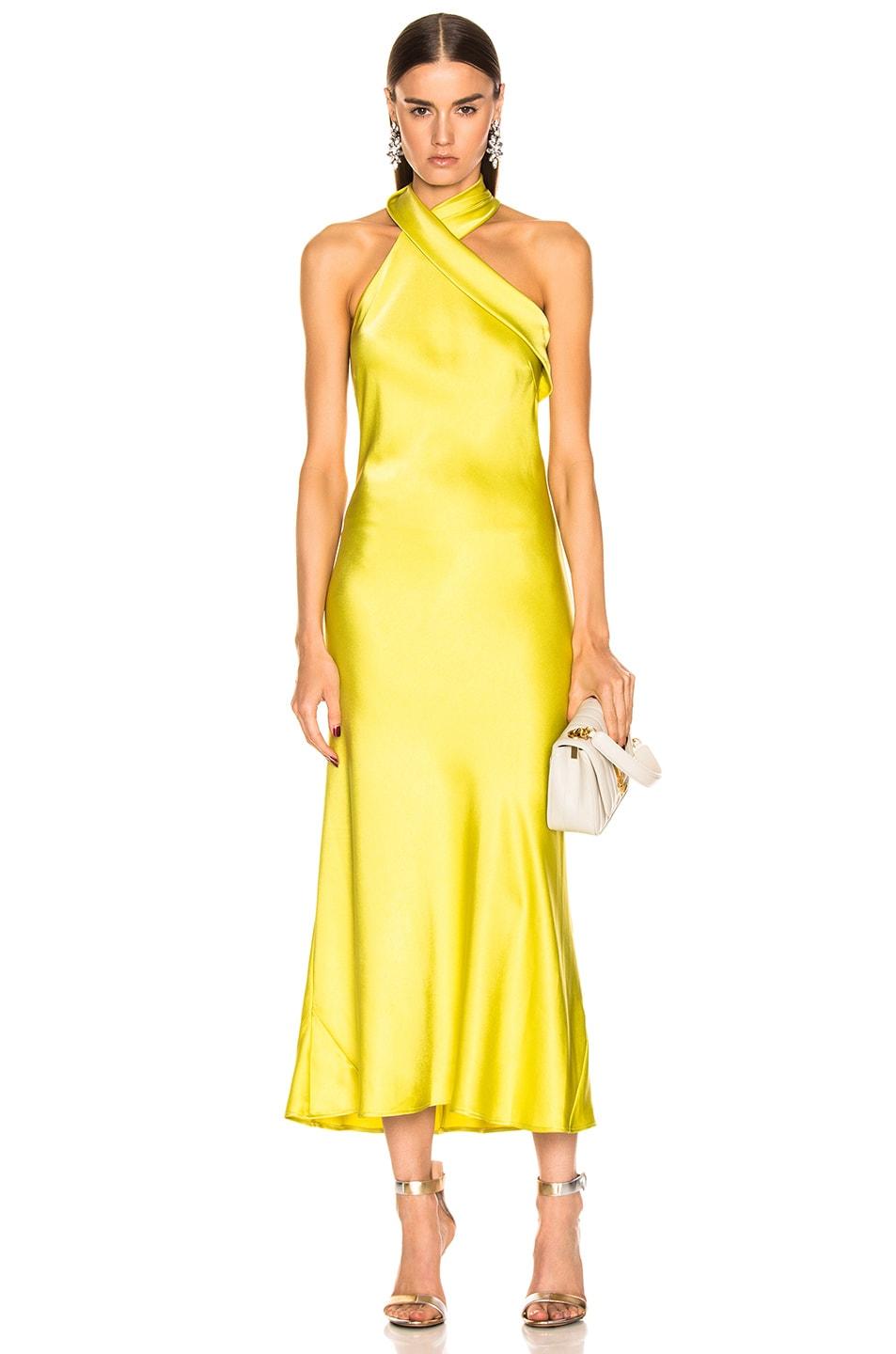Image 1 of GALVAN Cropped Pandora Dress in Lime