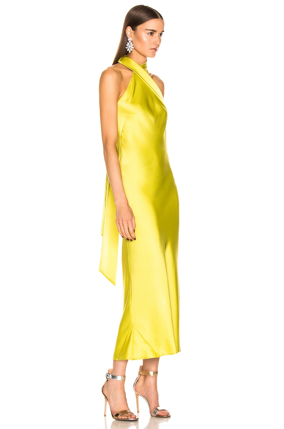 Image 2 of GALVAN Cropped Pandora Dress in Lime