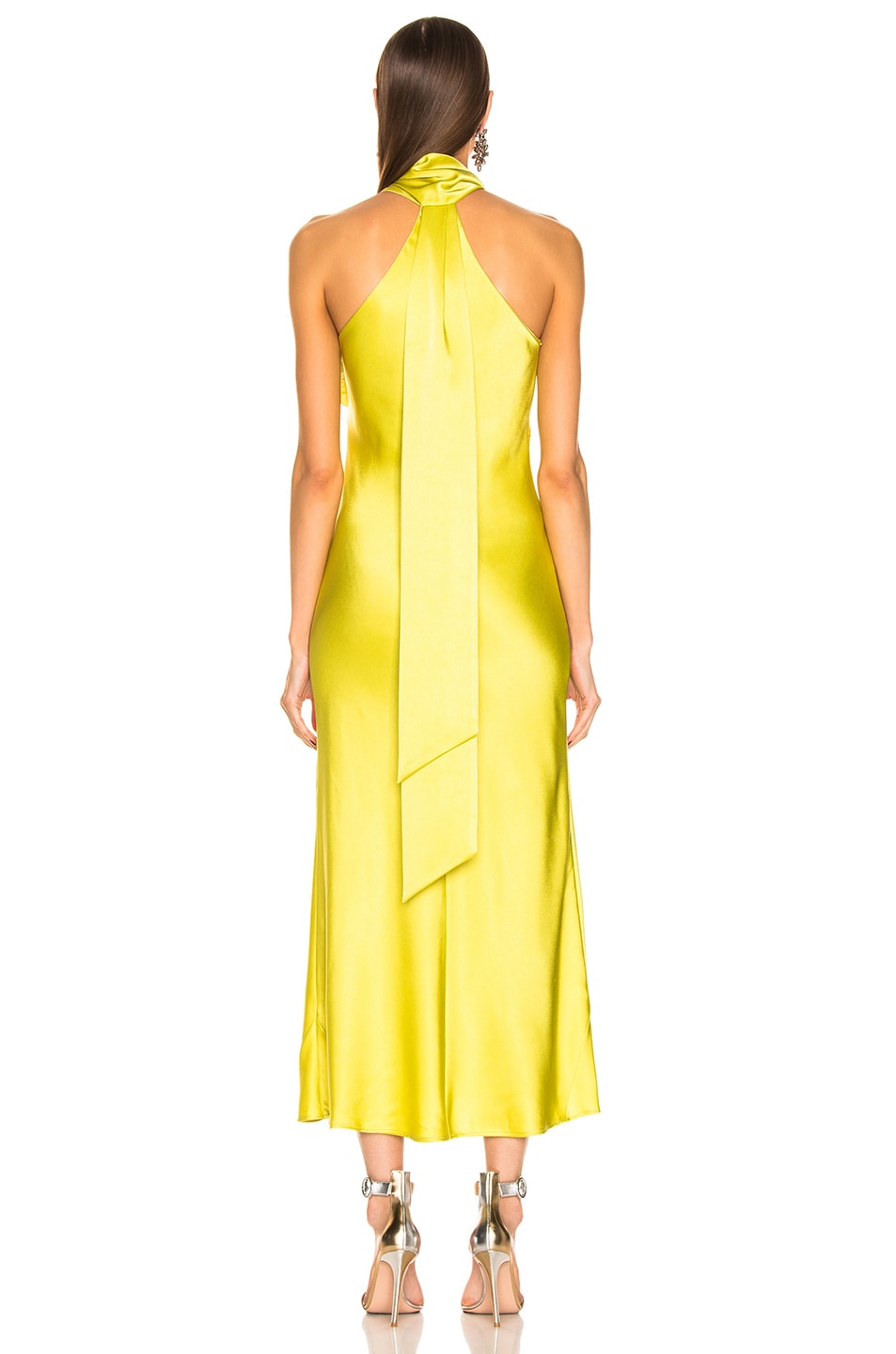 Image 4 of GALVAN Cropped Pandora Dress in Lime