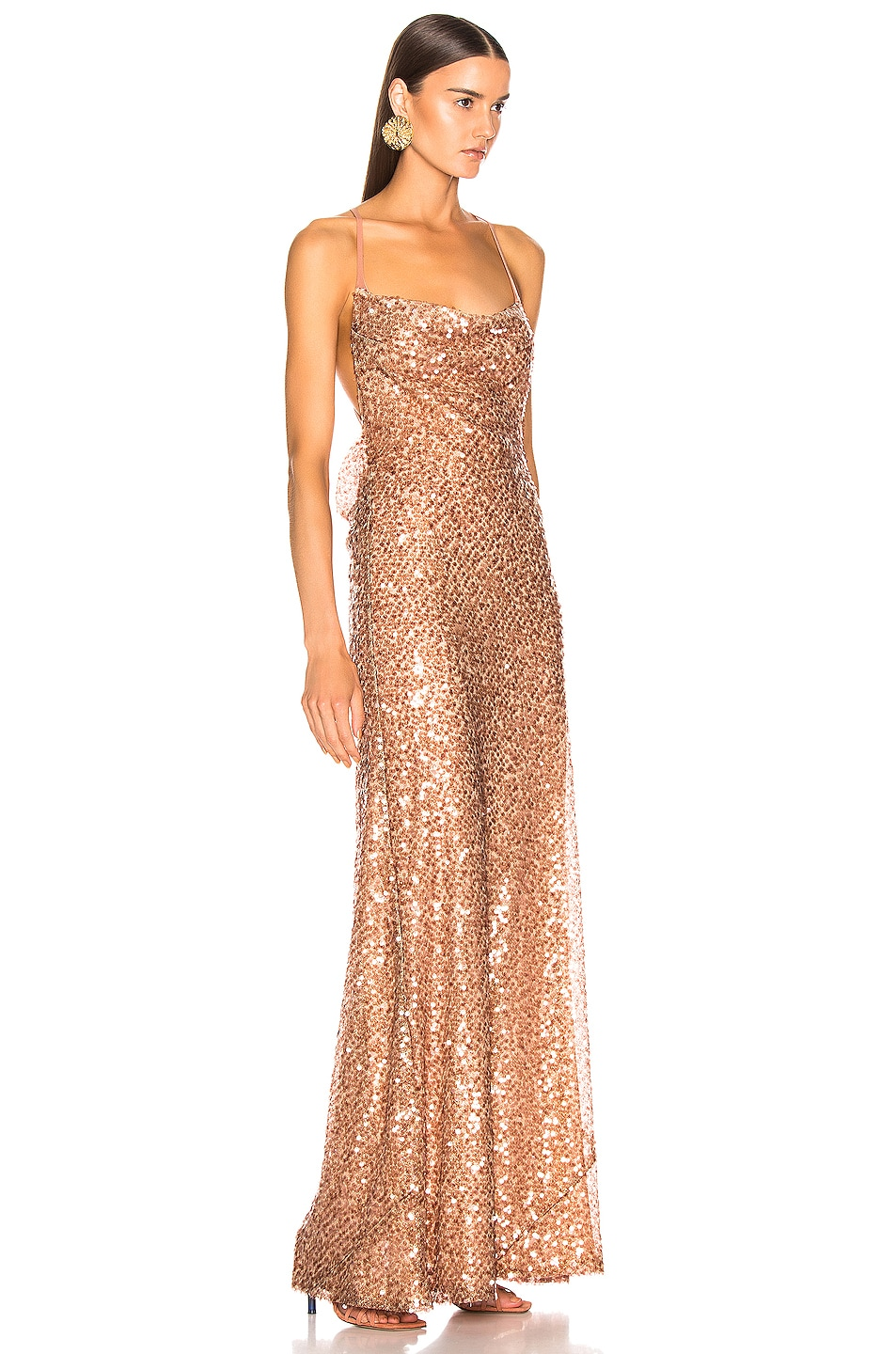 Image 2 of GALVAN Paillette Whiteley Dress in Copper