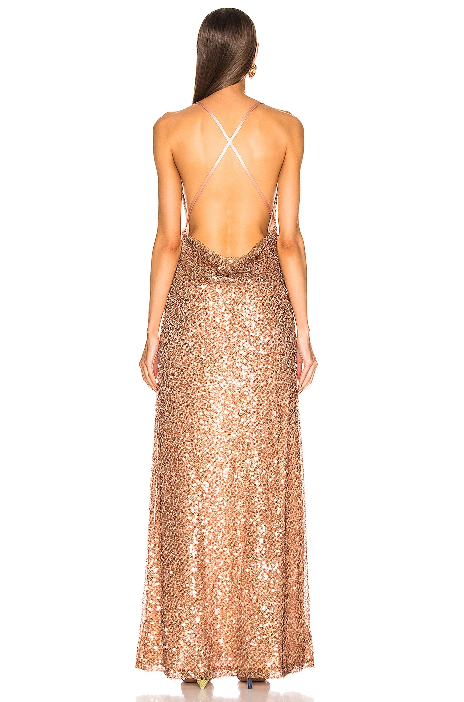 Image 3 of GALVAN Paillette Whiteley Dress in Copper