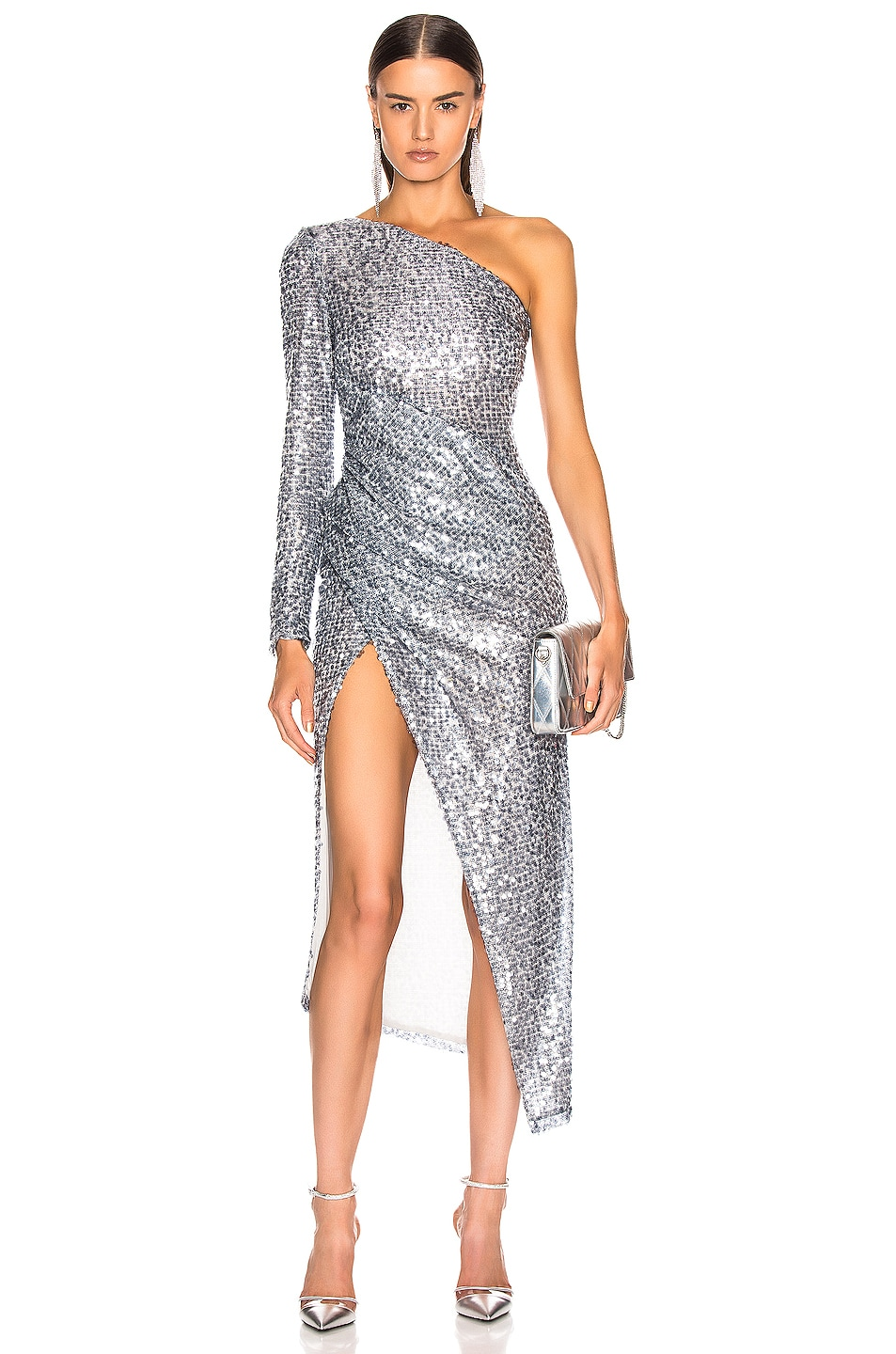Image 1 of GALVAN Paillette Mamounia Dress in Steel