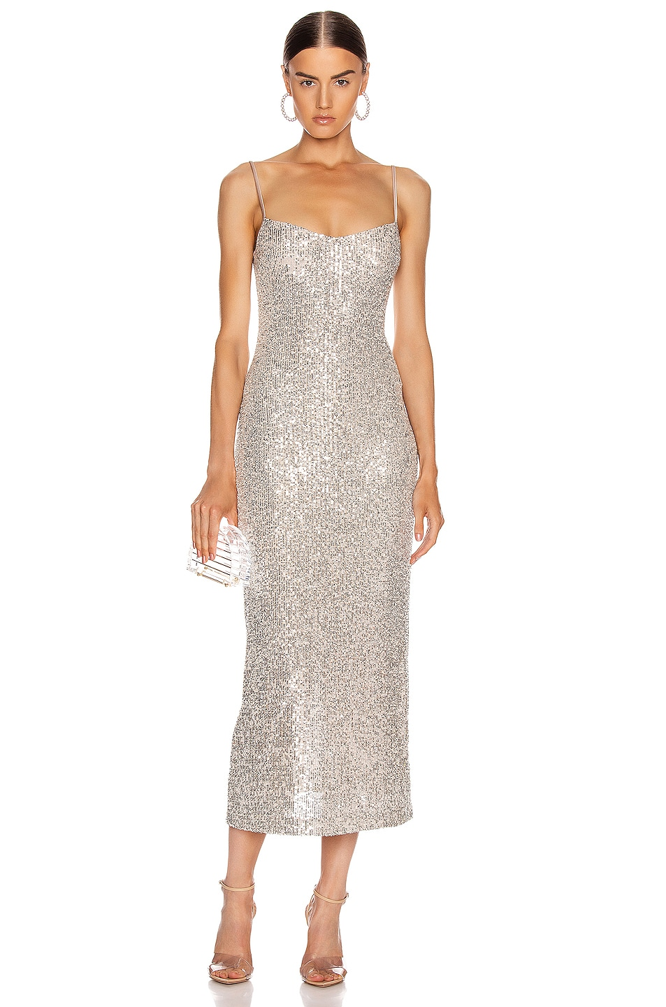 Image 1 of GALVAN Glitter Bustier Dress in Platinum