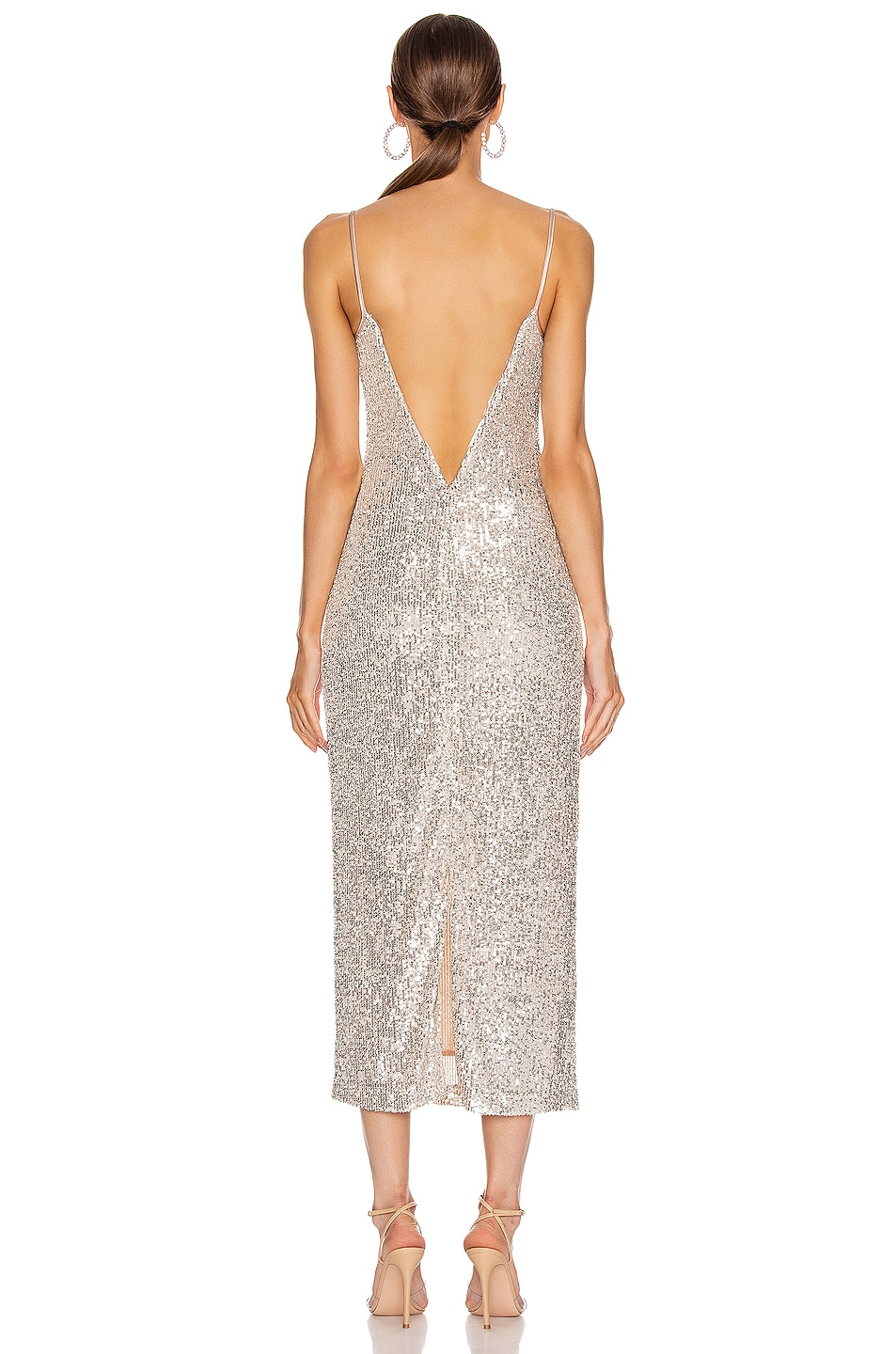 Image 3 of GALVAN Glitter Bustier Dress in Platinum
