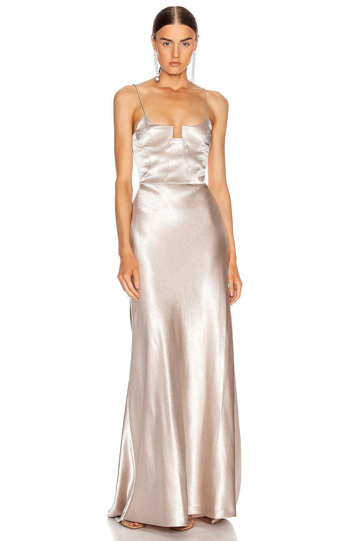 Image 1 of GALVAN Phoebe Bustier Dress in Platinum