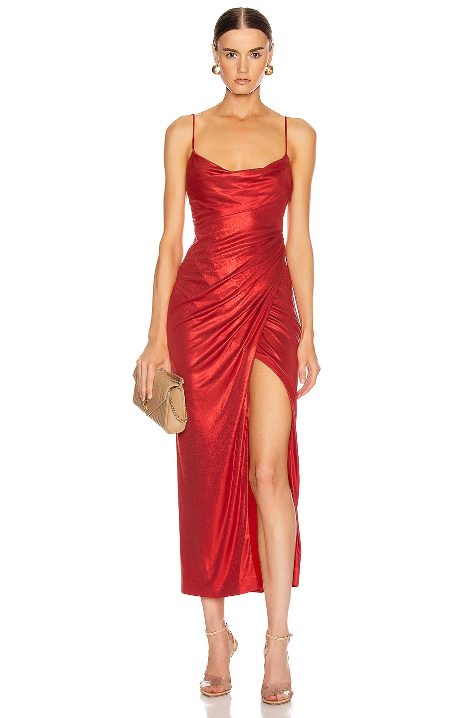 Image 1 of GALVAN Mars Dress in Metallic Red