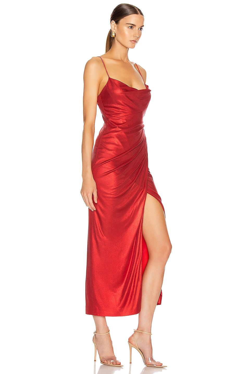 Image 2 of GALVAN Mars Dress in Metallic Red