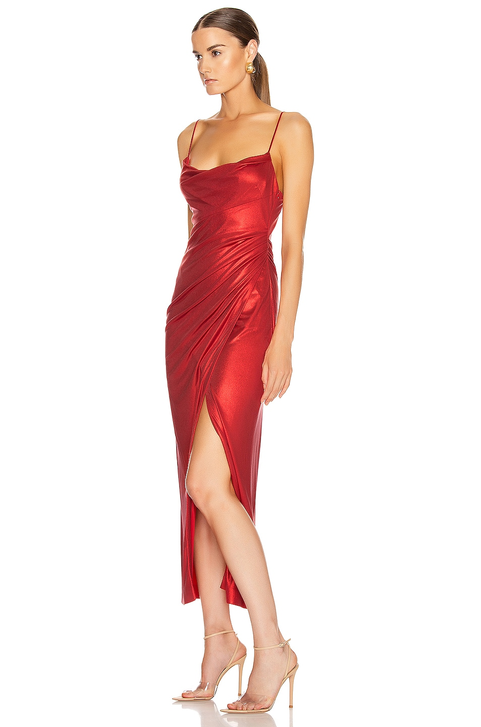 Image 3 of GALVAN Mars Dress in Metallic Red