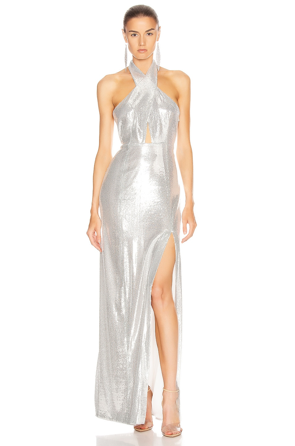 Image 1 of GALVAN Galaxy Flyover Dress in Silver