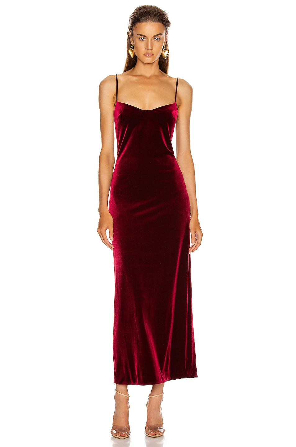 Image 1 of GALVAN Velvet Berlin Bustier Dress in Dark Ruby