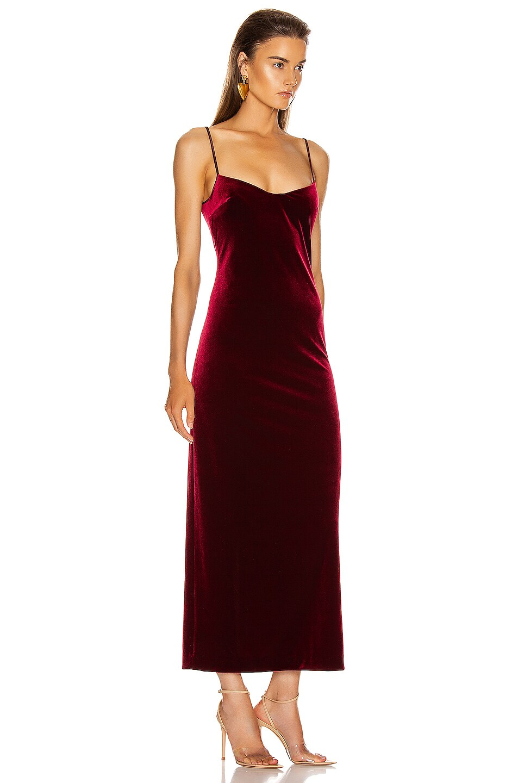 Image 2 of GALVAN Velvet Berlin Bustier Dress in Dark Ruby
