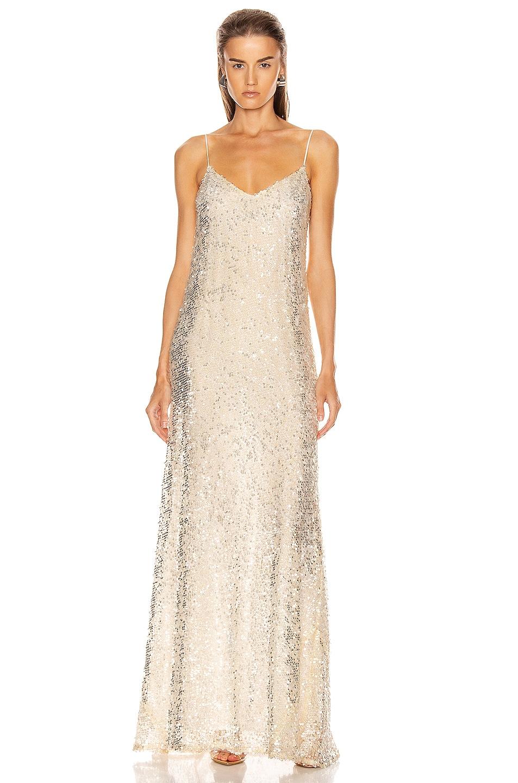 Image 1 of GALVAN Estrella Slip Dress in Pearl White