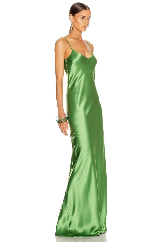 Image 2 of GALVAN Satin V Neck Slip Dress in Jungle Green